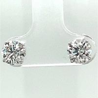 14KT White Gold 1 3/4 ct G-H I1-/I2+ 4 Prong Martini Pushback Solitaire Earrings