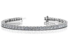 14KT White Gold 8 ct G-H SI2/SI2 4 Prong Tennis Bracelets