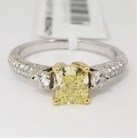 1.00 ct GIA fancy yellow SI1 in 18K Two-Tone 3 Stone Setting