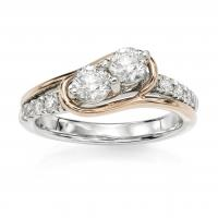 14KT Rose Gold 1/2 ct G-I I1-/I2+ Two Stone Rings