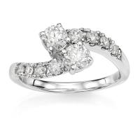 14KT White Gold 1/2 ct G-I I1-/I2+ Two Stone Rings